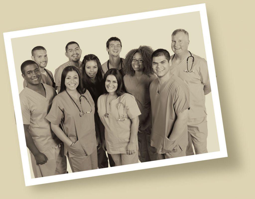 Sepia photo of doctors