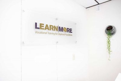 LearnMore logo on the wall